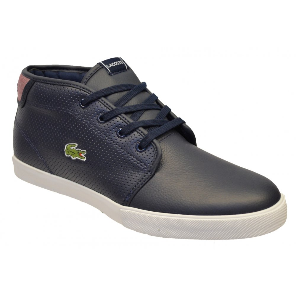 Lacoste Ampthill LIN SPM Dark Blue / Red (N5) Mens Leather Trainers ...