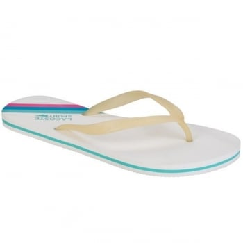 Lacoste Ancelle JAW SPW White / Turqs (UX1) Ladies Flip Flop