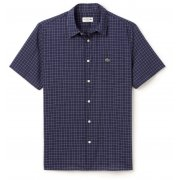 Lacoste Checked poplin Short Sleeves NAVY Blue (A22) CH2309-525 Mens Shirts