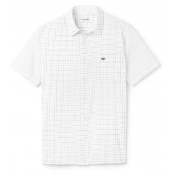 Lacoste Checked poplin Short Sleeves WHITE/NAVY (A22) CH2309-552 Mens Shirts