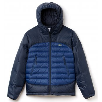 Lacoste Quilted L/Sleeve Down NAVY BLUE/PHILIPPINES BLU (BH1332-MRR) Mens Hoodies