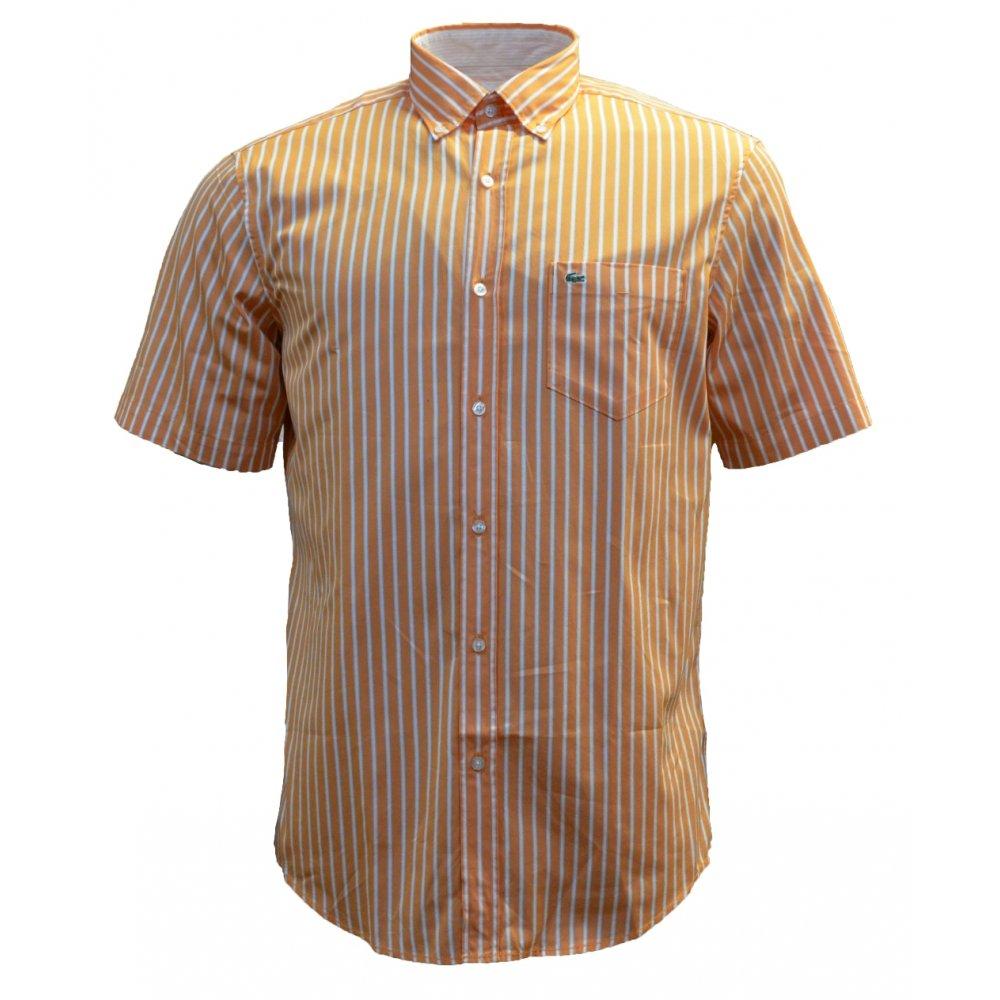 Lacoste lacoste short sleeve oranger white a22 ch6023 for Short sleeve lacoste shirt