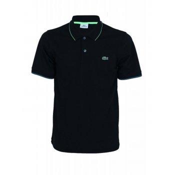 Lacoste Sport Tipped YH8106-7BB Noir / Vert Fluo-Capri (B22) Mens Short Sleeve Polo