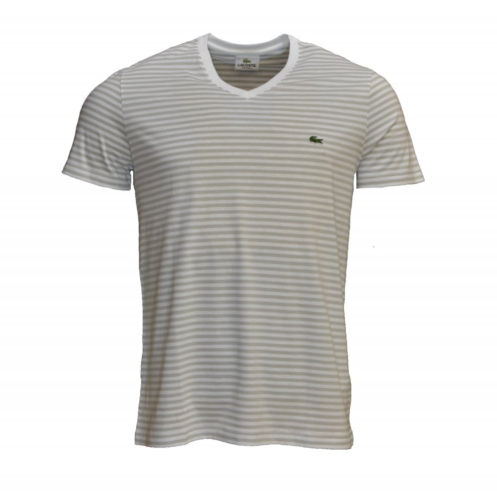 Lacoste lacoste v neck stripe blanc marbre th9081 4n5 for Short sleeve lacoste shirt