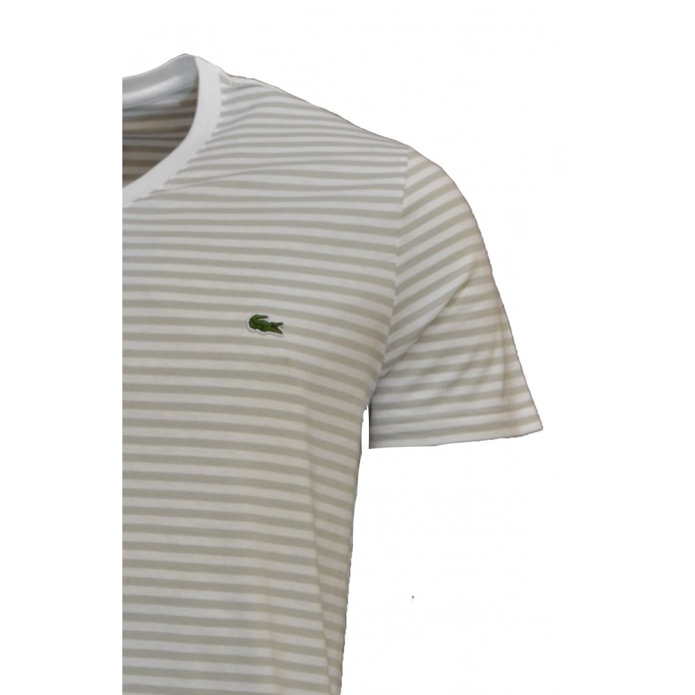 lacoste lacoste v neck stripe blanc marbre th9081 4n5 b5a mens short sleeve t shirt. Black Bedroom Furniture Sets. Home Design Ideas
