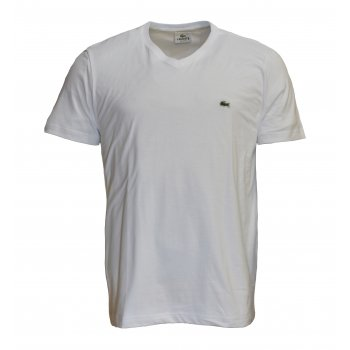 Lacoste V - Neck TH2036-001 White / Blanc (B5a) Mens Short Sleeve T-Shirt