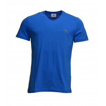 Lacoste V - Neck TH2036 VNT Blue / Naufrage (B5a) Mens Short Sleeve T-Shirt