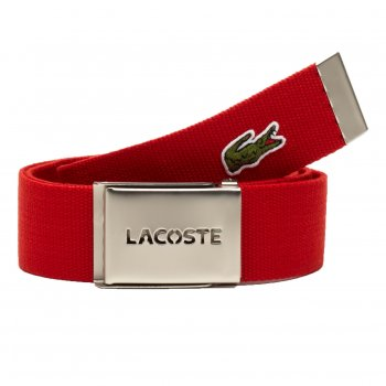 Lacoste Woven Webbing Red Mens Belts
