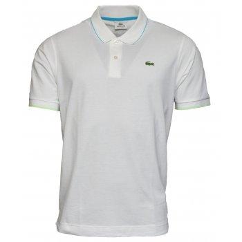 Lacoste Sport Tipped YH8106-7AK Blanc / Capri-Vert Fluo (B22) Mens Short Sleeve Polo