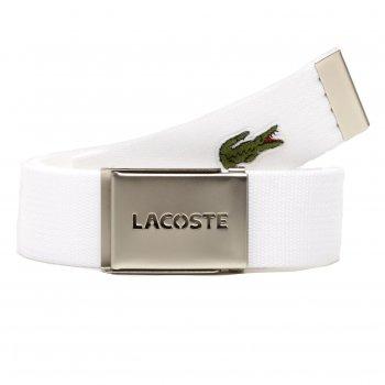 Lacoste Woven Webbing White Mens Belts