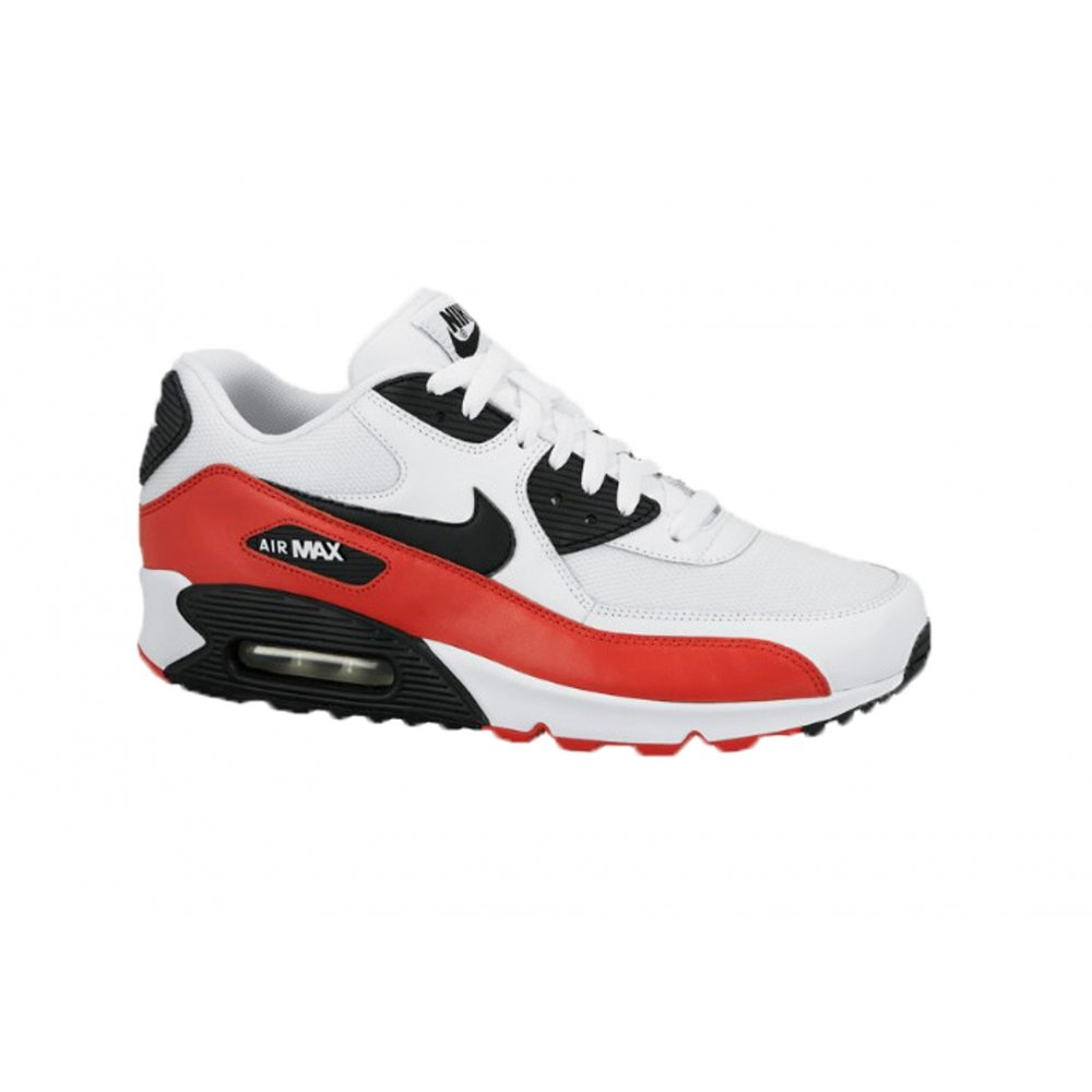 89bc67fe519e09 Nike Nike Air Max 90 Essential White   Black   Red (N83) Mens Trainers ...
