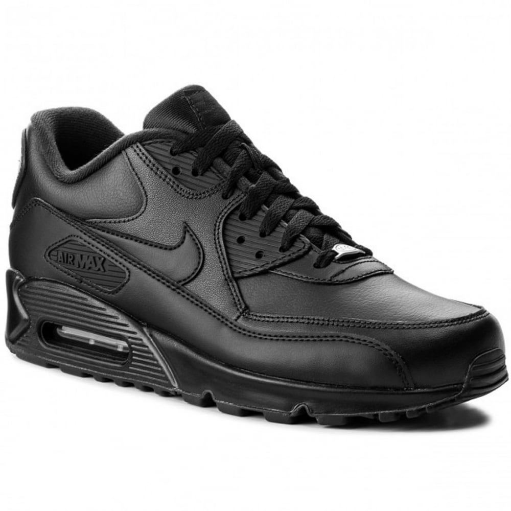 best service 7246c 47fb6 Nike Air Max 90 Leather Black   Black (N26) 302519-001 Mens Trainers