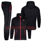 Nike Fleece Black / Red (Z23) 677837-010 Mens Tracksuits