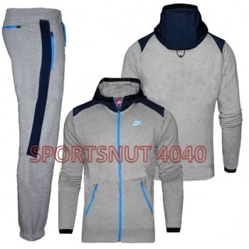 Nike Fleece Grey / Blue (Z23) 677837-063 Mens Tracksuits