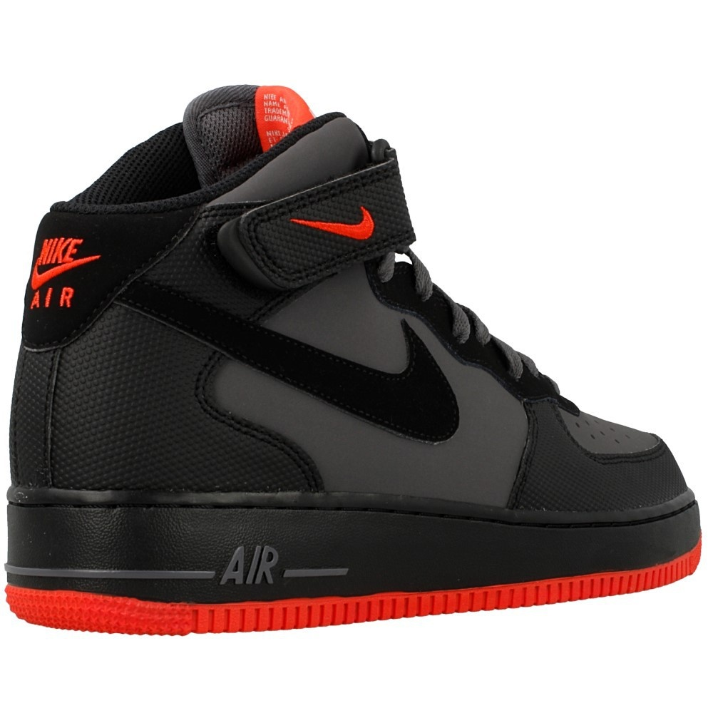 nike nike air force 1 mid 39 07 dk grey black bright crimson opp c 315123 031 mens trainers. Black Bedroom Furniture Sets. Home Design Ideas