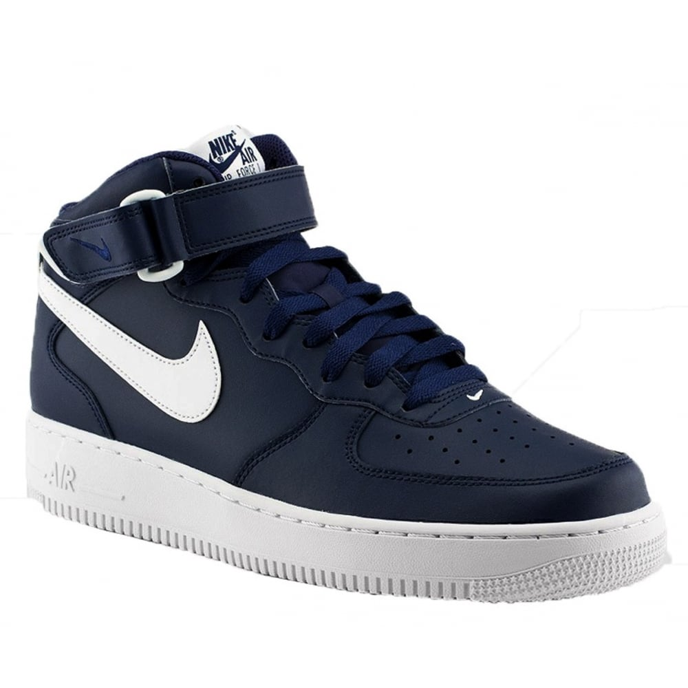 nike nike air force 1 mid 39 07 midnight navy white a6 315123 407 mens trainers nike from. Black Bedroom Furniture Sets. Home Design Ideas
