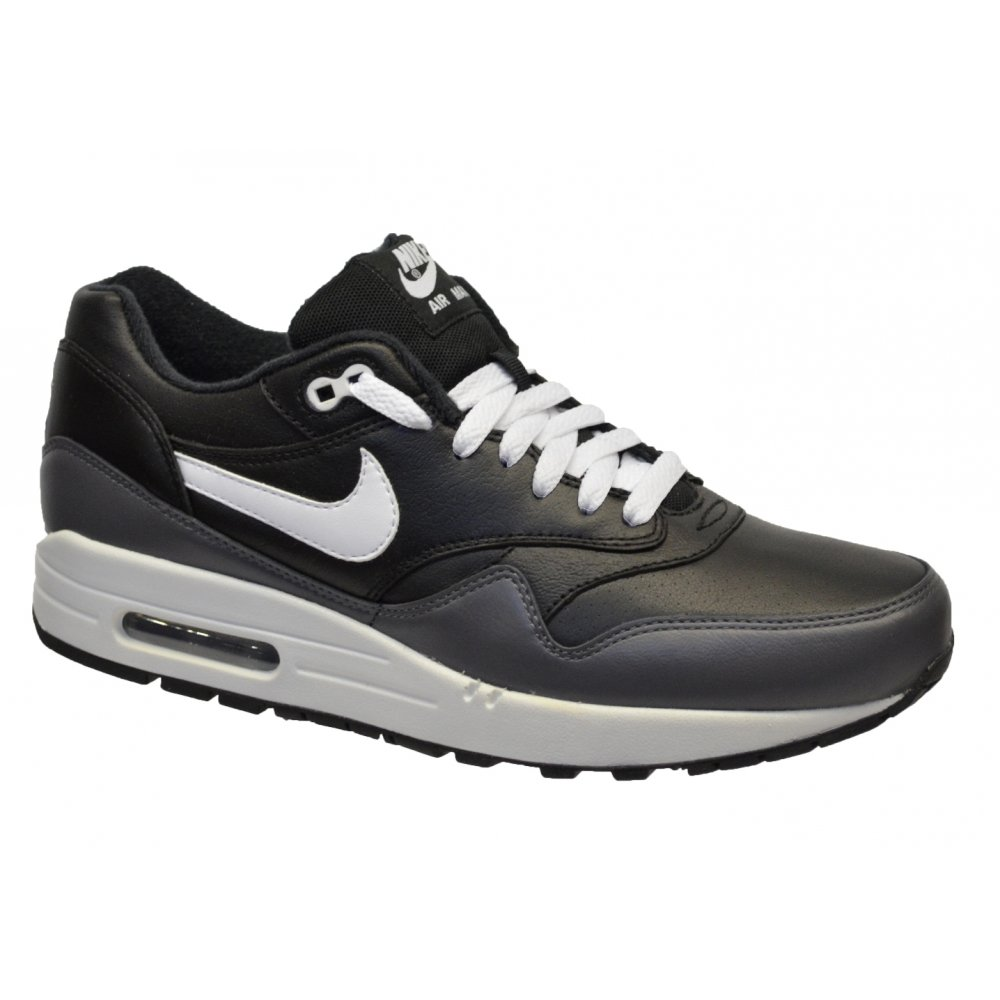 0736ced68f116f Nike Nike Air Max 1 LTR Black   White-Dark Grey (K3) 654466-001 Mens ...