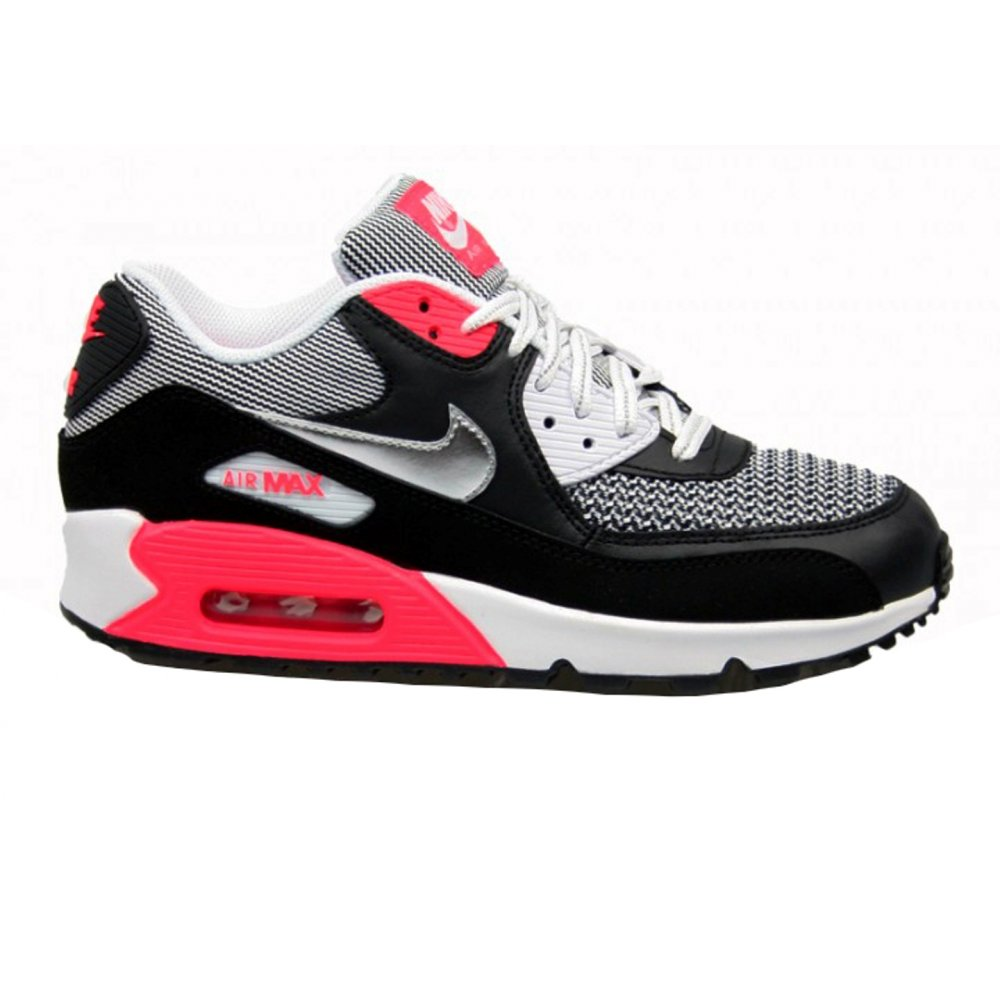 dd90c9751f54be Nike Air Max 90 LE (GS) White   Mtllc Slvr-Lsr Blk (F3) Older Boys Trainers