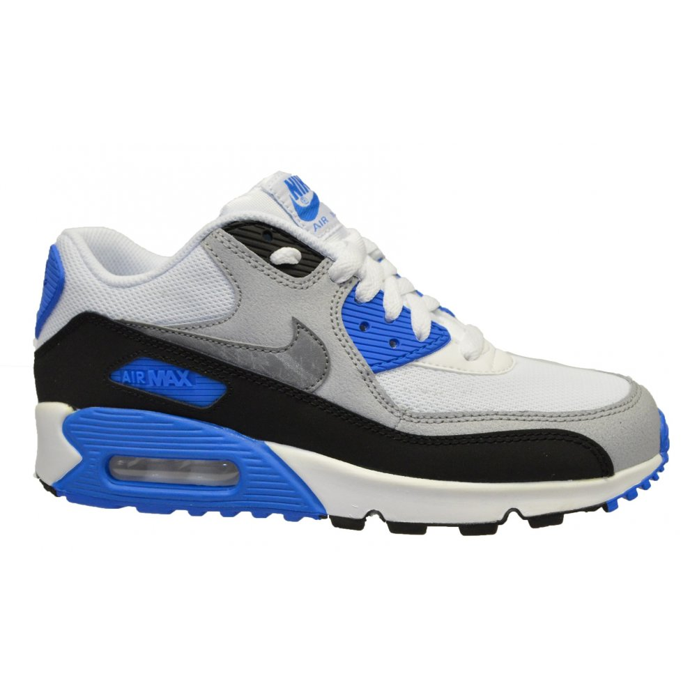 nike nike air max 90 mesh gs white cool grey blue n7a 724824 101 older boys trainers. Black Bedroom Furniture Sets. Home Design Ideas