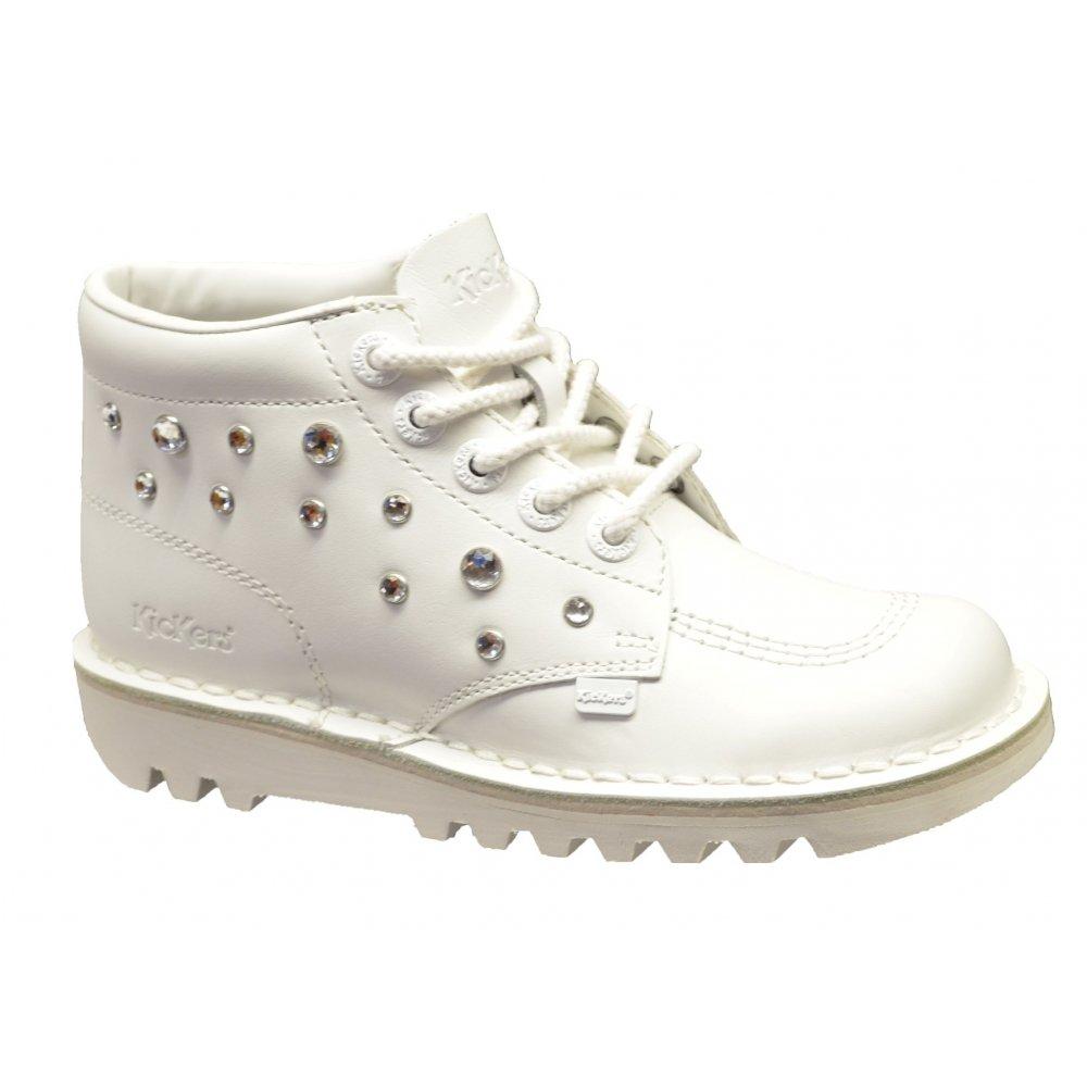 kickers kick hi leather white c3 boots all