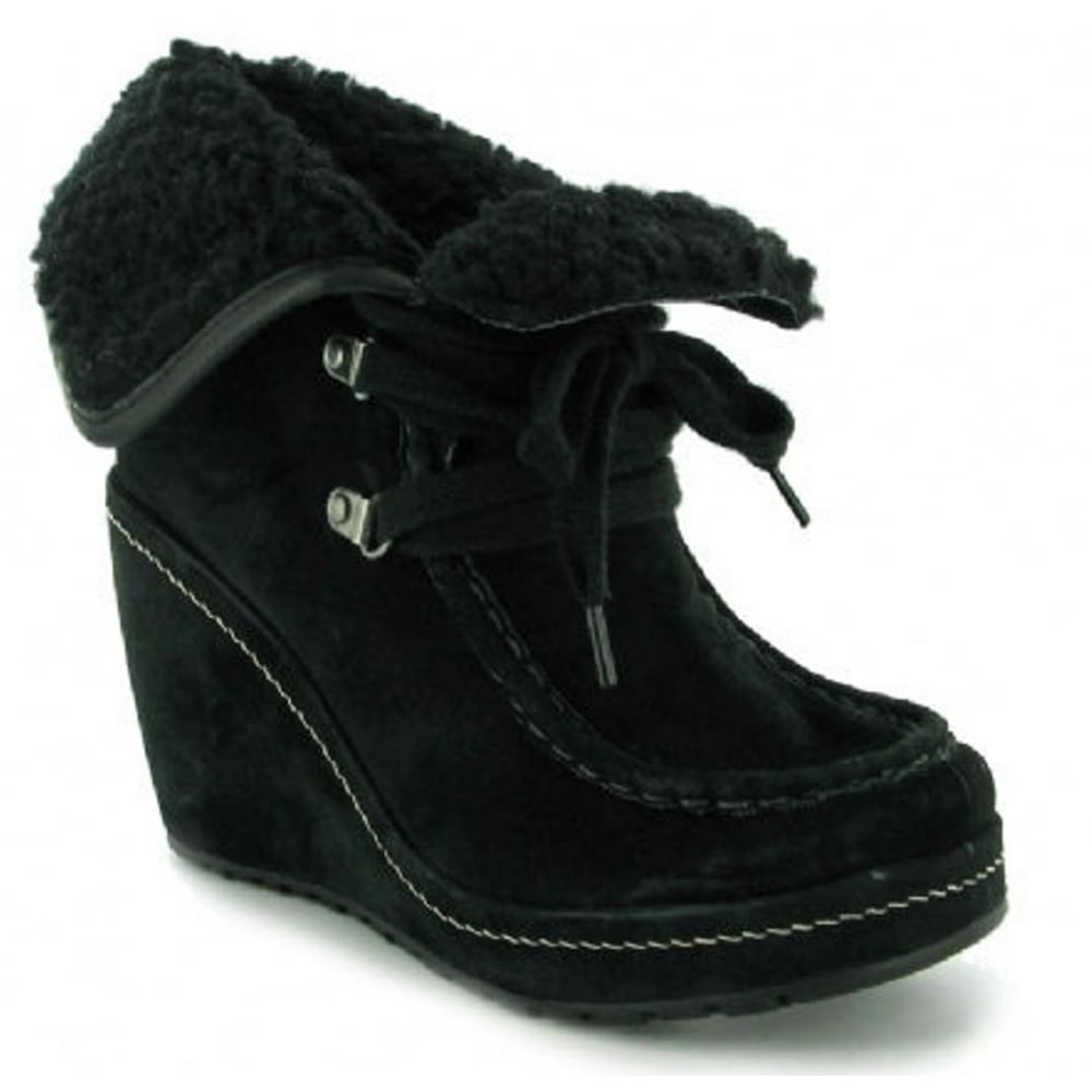 1533eb3242a Rocketdog Rocket Dog Bonfire Suede Black Wedge Womens Boots ...