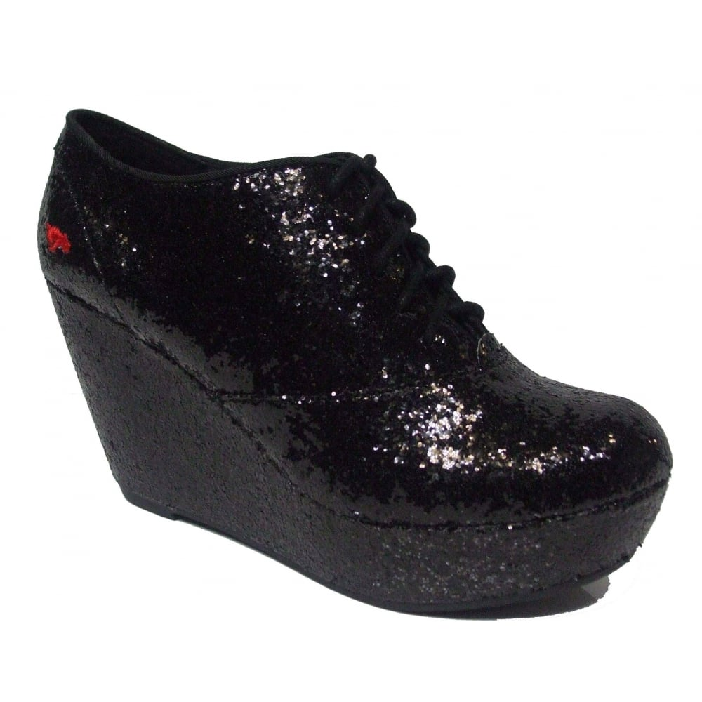 640ba646c04 Rocketdog Rocket Dog Lift Off Sparkle Black Wedge Womens .