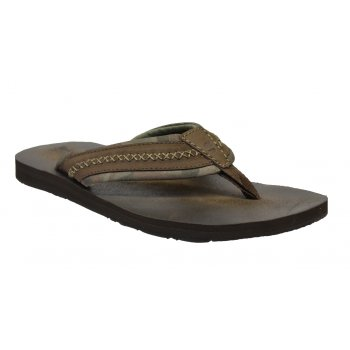 Timberland EK Dark Brown (Z23) 9365B Leather and Fabric Thong Mens Flip Flop