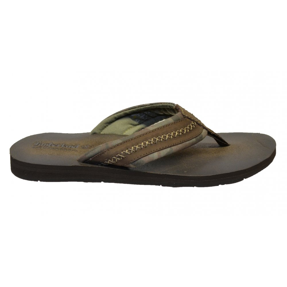 582b24a74ade ... Timberland EK Dark Brown (Z23) 9365B Leather and Fabric Thong Mens Flip  Flop ...