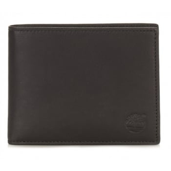 Timberland Mens Leather Black Bifold Wallet with Coin Pocket TB0A1FUK-968