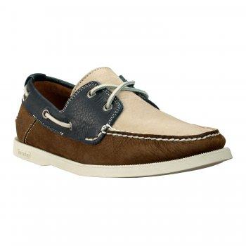 Timberland EK Heritage Brown Blue 2 Eye (N2) Mens Boat Shoes