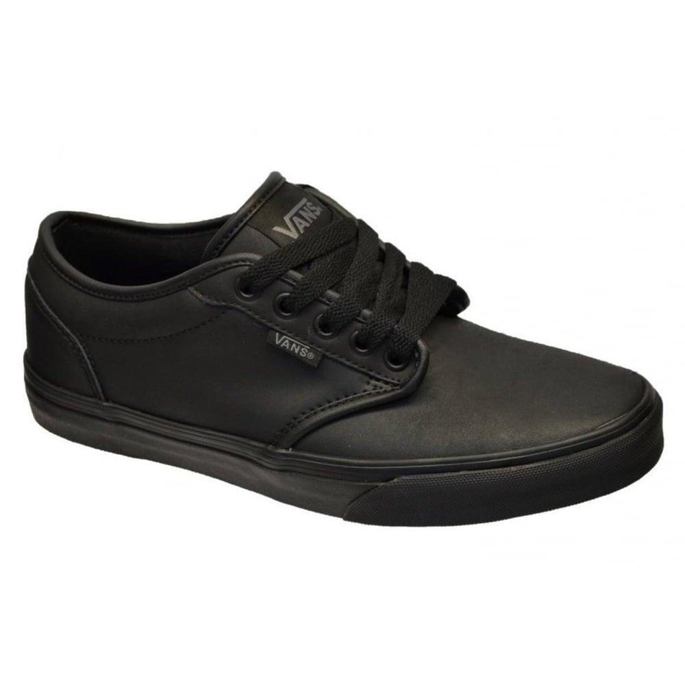 774092563d VANS Vans Atwood Leather Triple Black (N103) VN-0 A327LKNX Mens ...